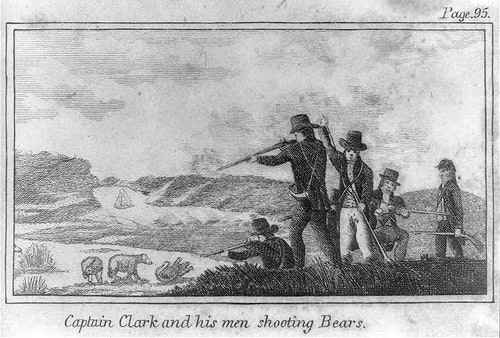 "CREDIT: ""Captain Clark and his men shooting bears."" in Patrick Gass, A Journal of the Voyages and Travels of a Corps of Discovery, Under the Command of Capt. Lewis and Capt. Clarke. . . . Philadelphia: Matthew Carey, 1812. Prints and Photographs Division of the Library of Congress. Reproduction Number: LC-USZ62-19233"