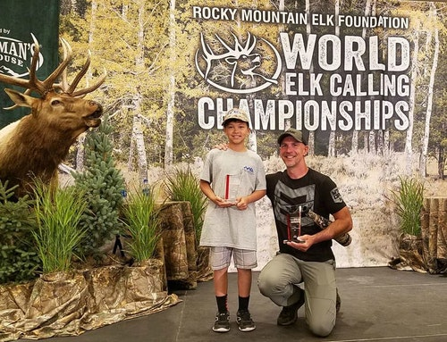 First-place winners Chris Fong (Peewee Division) and Corey Jacobsen (Professional Division) at the 2019 World Elk Calling Championships.