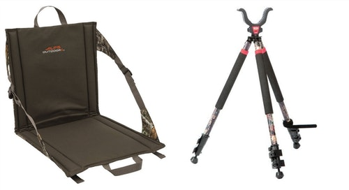 The author's deadly duo: An ALPS OutdoorZ Backwoods stadium seat matched with a BOG CLD 3S Short Camo Shooting Tripod.