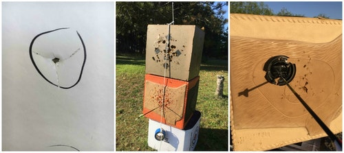 Bow tuning and sighting in is a three step process. First, you work to achieve perfect bullet holes through paper (left). Next, you move onto micro-tuning, which involves shooting at longer ranges with aid of string hanging perfectly vertical (center). Finally, set your bowsight pins for various distances; the author prefers aiming at a 4.5-inch-diameter top of a Big Gulp cup that's been painted black (right).