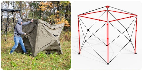 The red areas in this illustration show the additional support structure in the Cage pop-up blind that allows it to withstand the weather like a permanent blind.