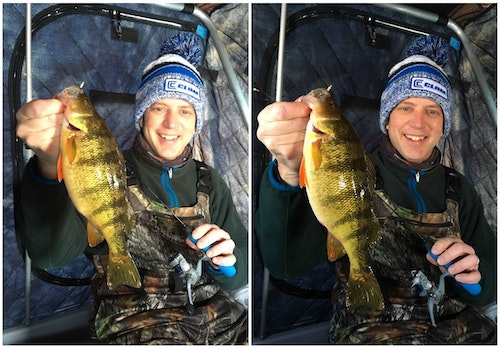 The left photo of the author is a bit blown out with harsh light coming into the ice fishing shelter from a side window. The author's son closed the side window, then opened a front window to achieve a much better pic.