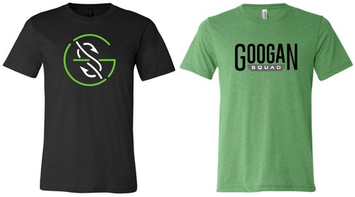 You might not recognize the logo on the left t-shirt. It's from the Googan Squad, and your husband's purchases of their apparel helps them produce more online fishing content.