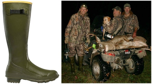 The author (right photo, far left) depends on his LaCrosse Grange boots to keep his feet dry while pursuing whitetails and wild turkeys.