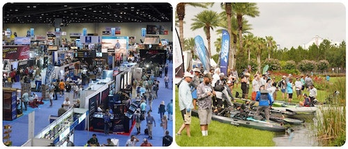 On the day before the ICAST show floor opens (left), visitors can attend the ICAST On the Water event (right), where exhibitors demonstrate their gear, tackle, watercraft and accessories. This event sits on five acres of water just outside the Orange County Convention Center (below).