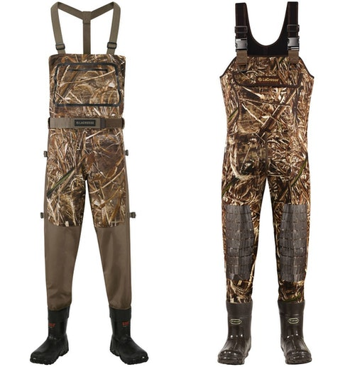 The author's two-waders system for 2020: LaCrosse Alpha Swampfox Drop Top breathable waders (left) and LaCrosse Super Brush Tuff 5mm neoprene waders (right).