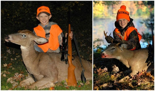 The author's son Luke with his first-ever whitetail (left), a mature Wisconsin doe taken during the special youth-only weekend. Luke was 10 years old. A year later in Wisconsin, he shot a 4x4 buck.