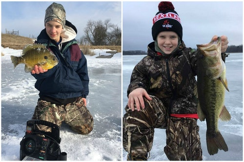 Dave's sons, Elliott (left) and Luke (right), have learned that the key to staying warm during Minnesota winters is avoiding cotton clothing next to their skin.