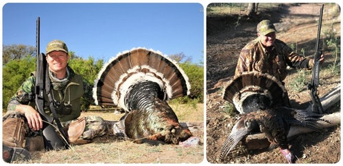 Jeff Johnston (left) and Rick Lambert used the prototype Mossberg 940 Field Pro shotgun to tag their Rancho Mababi birds.