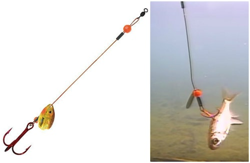 A Northland Tackle Single Wire Predator Rig features a single treble and is great for 5- to 6-inch minnows.