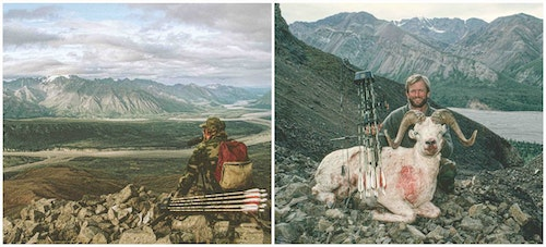 My first bow-killed Dall sheep ram, taken in 1991 in the Wrangells on a guided hunt with Terry Overly and guide Rick Alexander. Check out that high-tech archery setup.