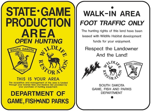 South Dakota has various designations for its huntable public and private lands. Two examples are Game Production Areas, which are owned by the state, and Walk-In Areas, which are private but leased by the state and free to hunt without asking landowner permission.