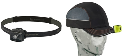 The Streamlight QB can we worn with the elastic head strap or attached to a cap with the built-in clip.