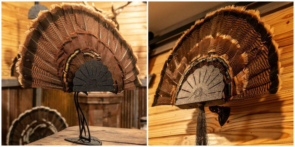 The Turkey Hooker can be used in a wall display (right), attached to a standard Table Hooker (left), or set directly on a desk or shelf.