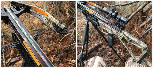 Look Mom, no hands! To ensure you're ready when a whitetail suddenly appears, rest a crossbow's buttstock on your knee and its cables on a tripod's yoke.