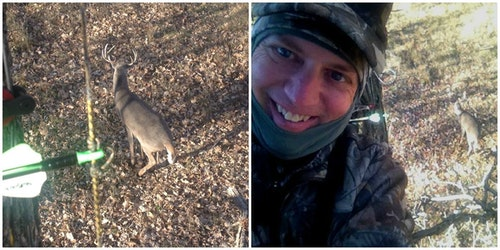 Bucks that sneak in to check out the Boss Babe as a doe usually hang around for a couple minutes and present multiple shooting opportunities. Here, a South Dakota 4x4 allows the author to snap a quick selfie with the buck in the background.