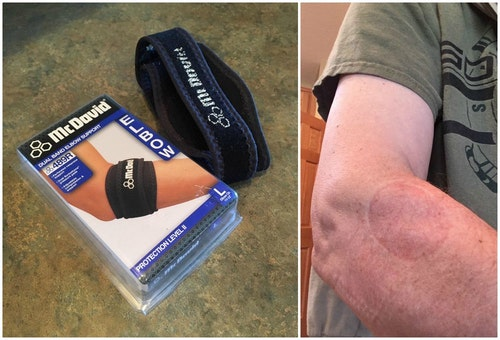 The author relies on a McDavid Dual Band Elbow Support. After removing the strap, the skin stamp is easy to see.
