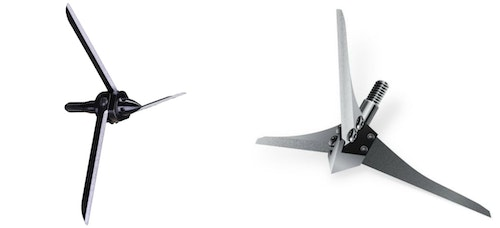 Two of the most popular broadheads for head/neck shots on wild turkeys are the Magnus Bullhead (left) and Solid Broadheads Turkey D-Cap (right).