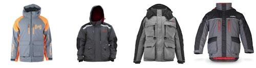 Left to right: Clam Ice Armor Rise Float Parka, Eskimo Roughneck Jacket, StrikerIce Hardwater Jacket and StrikeMaster Surface Jacket.