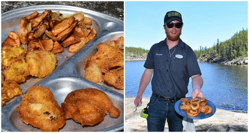 A topnotch shore lunch of fried walleye fillets, with a bonus appetizer of onion rings.