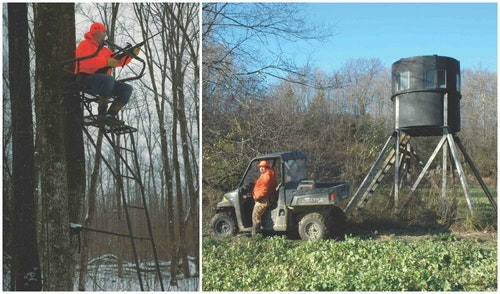 Left: In the north woods (Minnesota), treestands deliver your best odds for a shot. It won't be a long one. Right: This Illinois tower stand commands a peninsula of cropland rimmed by woods. Whitetail Central!