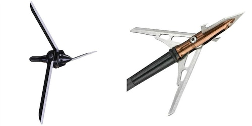 The 125-grain Magnus Bullhead (left) is a fixed-blade broadhead with a cutting diameter of 3.75 inches; it's designed for head/neck shots on turkeys. The 100-grain Rage X-Treme Turkey (right) is a mechanical with a cutting diameter of 2.125 inches.