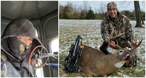The author initially hoped to harvest a trophy buck in Iowa with his compound (left), but he finally closed the deal (after a painful injury) with a crossbow.