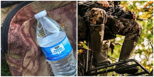 "It's smart to stay hydrated while waiting on whitetails, but when the time comes for a bathroom break, is it okay to pee from the treestand? The author says ""yes."""