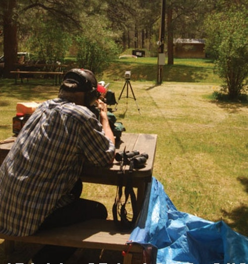 The author testing muzzleloader load performance through a chronograph.