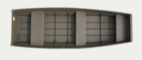 A Crestliner 1232 CR Jon measures 11 feet 10 inches, weighs only 90 pounds, and has a maximum weight capacity of 389 pounds.