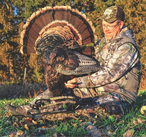 The author used a well-placed crossbow bolt to harvest this spring longbeard.