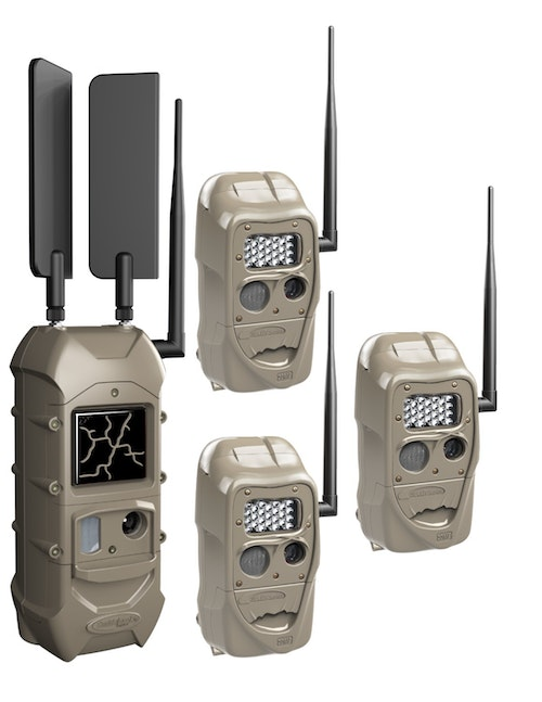 The Cuddeback Dual Cell Kit 3+1 includes two LTE high-gain antennas (shown far left on Dual Cell camera).