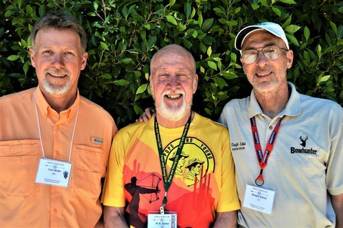The only three editors to lead Bowhunter Magazine: Curt Wells (left), M. R. James (center) and Dwight Schuh. (Facebook photo courtesy of M. R. James.)