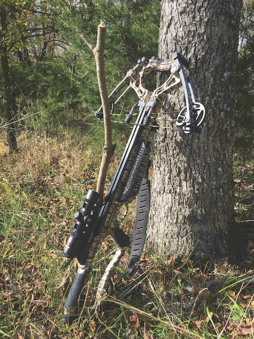 The author was impressed with the accuracy and especially the trigger on the Barnett Whitetail Pro STR. Shown here is the author's DIY shooting stick.