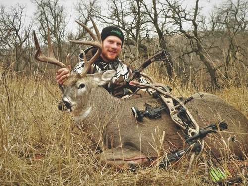 The author nailed this heavy-duty South Dakota 8-pointer as it pinched through a terrain funnel 27 yards from his treestand.