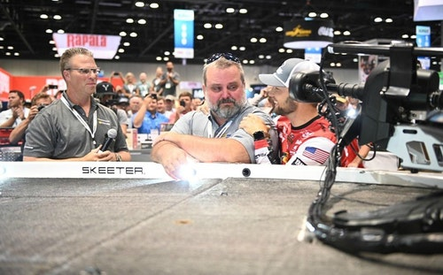 Facebook post from David Lowrie after receiving his ICAST surprise: Never be afraid to shed tears of joy. Never be afraid to be thankful. And never doubt that when you're down and stressed and struggling that God knows when to find some way to pick you up. I've had a rough few months and some really nice people who didn't know any of that showed up to wash all the stress away. God bless everyone at Minn Kota, Humminbird and all the other people and companies involved with a moment that will mark me for the rest of my life.