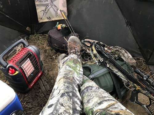 A little heat was needed in the blind to stay comfortable after not eating for three days.