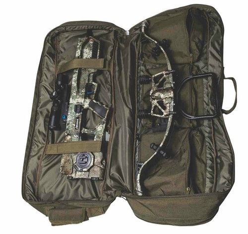 The Assassin 400TD package includes the crossbow, factory-mounted scope and rings, sound deadening system, ambidextrous cheek piece, four-arrow QD quiver, four Proflight 16.5-inch arrows, field points, fail-safe strap and charger handle, plus a custom-fitted soft case (above).