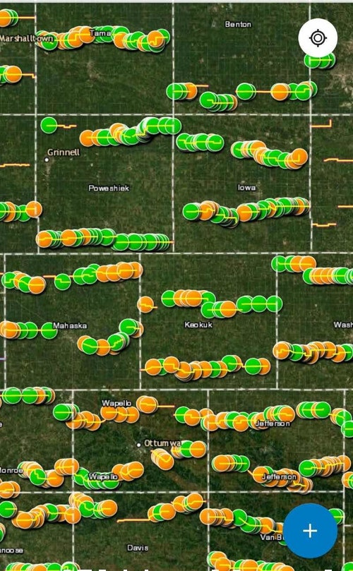 Each Iowa county has two spring deer spotlight survey routes. In the county map above (not the entire state), orange dots signify whitetail sightings, and green dots signify furbearers such as fox, skunks and opossums.