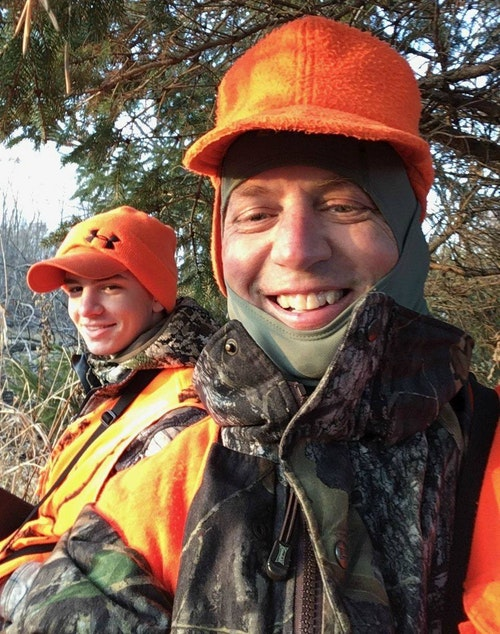The author and his son Elliott are all smiles after Elliott shot a doe (top photo) on opening day of Wisconsin's 2019 firearms deer season.