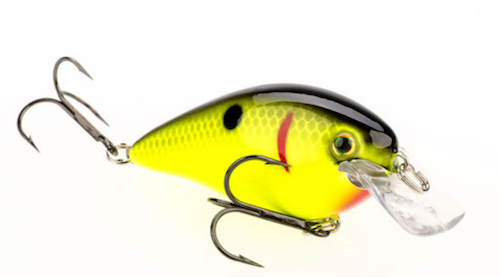 ​The Strike King KVD 1.5 crankbait dives about 1.5 feet and with its square bill will deflect off rocks or wood cover. It's about two inches long and has a nice wobble that mimics baitfish and forage species such as bluegill or perch. (Photo: Strike King)