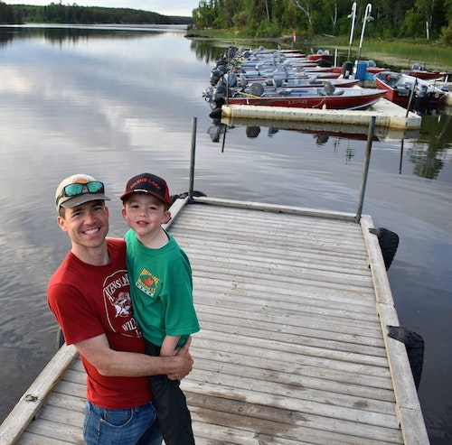 The author treated his son Joe to a Canadian fishing adventure at Aikens Lake Wilderness Lodge to celebrate the boy's 5th birthday.