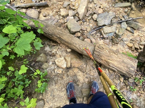 Proper shoes and good walking sticks can help you navigate challenging terrain if you're hiking or trail running.