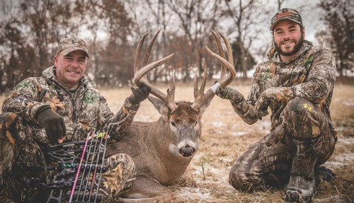 David Holder (above left) of Raised Outdoors (www.raisedoutdoors.com) recently moved to Iowa when his wife took a job there. The move yielded quick benefits, as this monster 179 6/8-inch deer demonstrates.