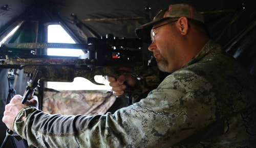 Checking window clearance to ensure limbs and bolts perform flawlessly is a must-do for the blind-going crossbow hunter.