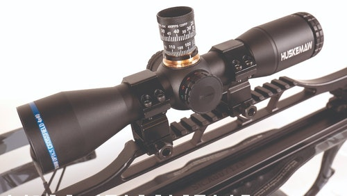 The Huskemaw Optics Crossfield 4x40 crossbow scope provides a bright image and features an adjustable illuminated center dot in both red and green.