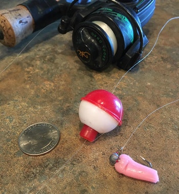 An ultralight rod-and-reel combo rigged with a small bobber and tiny leadhead jig tipped with nightcrawler is all you need for fast action. In this photo, the author used a pink soft plastic to illustrate the size crawler chunk recommended, as well as the preferred rigging method.