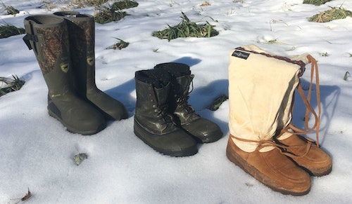 Warm, warmer and warmest, the author's late-season boots from left to right: Irish Setter MudTrek 1200, LaCrosse Iceman, and Steger Mukluks. The MudTreks were added this fall to the author's footwear selection. As evidence that it usually pays to purchase top-notch gear, the author's Mukluks are 20 years old, and the Icemans are at least 30!