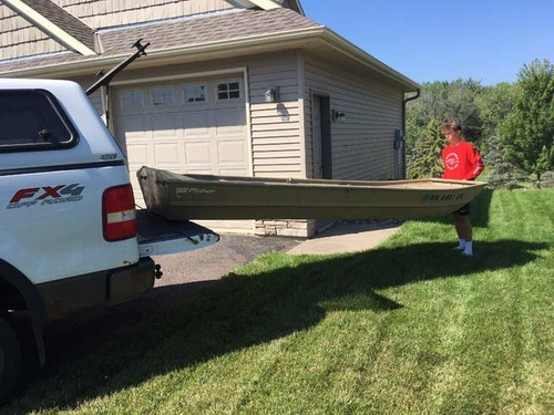A 12-foot jon boat can be loaded solo, and it fits in a short-box pickup (tailgate down) and then tied in with ropes for safe transport.