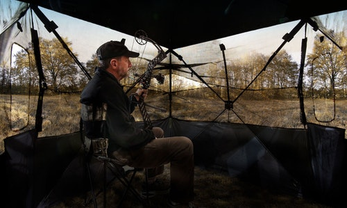 Primos Double Bull SurroundView blinds let you see out, but turkey can't see in.